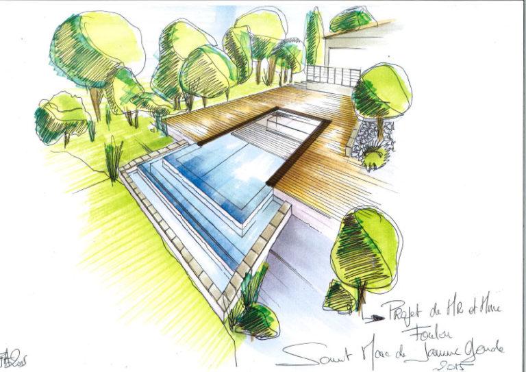 Croquis de la future construction d'une piscine. Planète Eau Piscines, Construction, Rénovation, Entretien. Artisan pisciniste sur Aix en Provence et ses alentours.