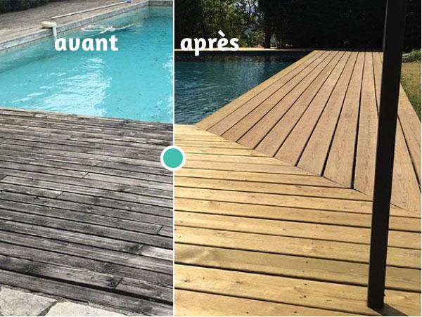 Photo d'une piscine avant et après rénovation